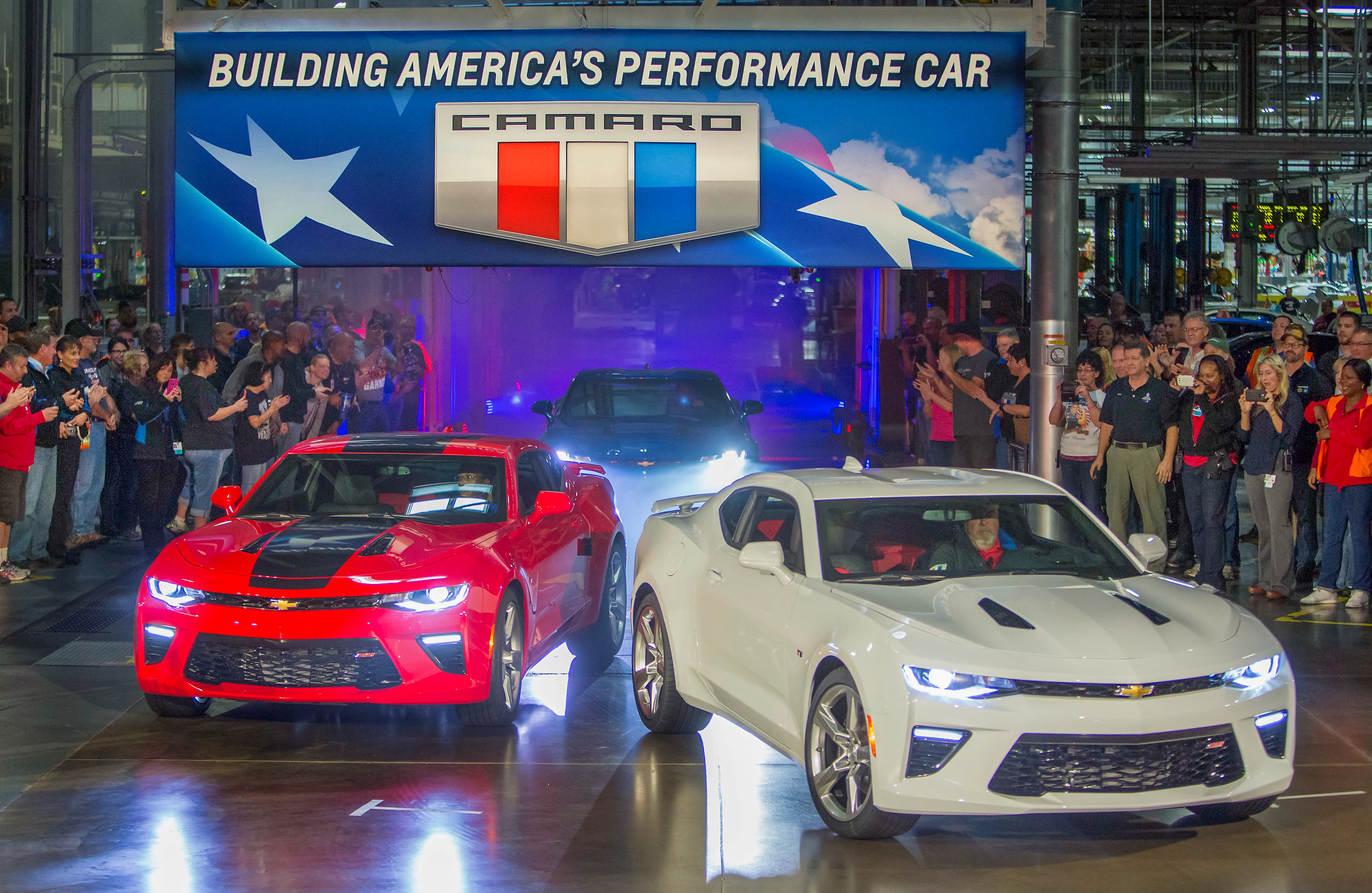 Chevrolet rolls out the 2016 Camaro Monday, October 26, 2015, as it announces the Camaro will begin shipping to dealers from General Motors' Lansing Grand River Assembly later this week in Lansing, Michigan. The first vehicles delivered to customers will be coupes – SS or LT models with the 3.6L V-6. The Camaro Convertible and models with the 2.0L Turbo engine will begin shipping in early 2016. (Photo by Jeffrey Sauger for Chevrolet)